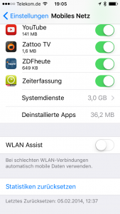 IOS9 WLAN Assist Datenfresser aus