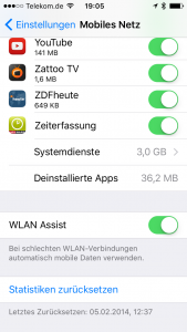 IOS9 WLAN Assist Datenfresser ein